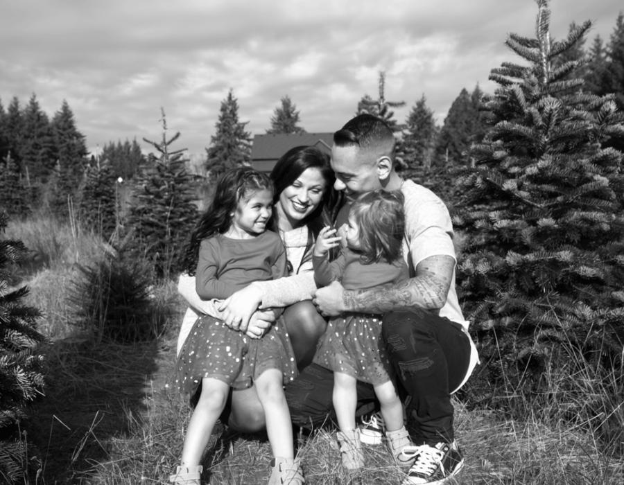 bailey-family-christmas-card-photos-group-photo-xmas-trees-black-and-white