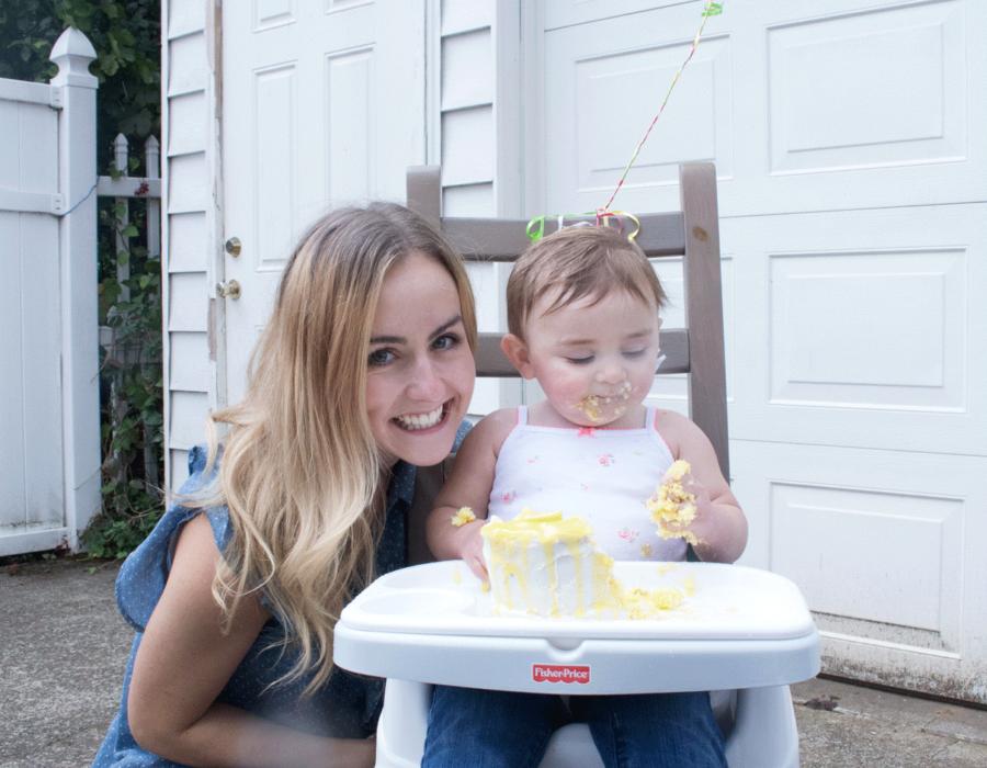 first-birthday-baby-yellow-and-white-cake-balloons-raining